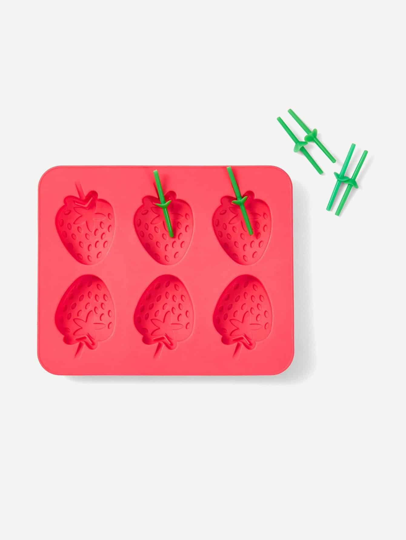 Strawberry Ice Pop Mold With 6pcs Fork household product plastic dustbin mold makers