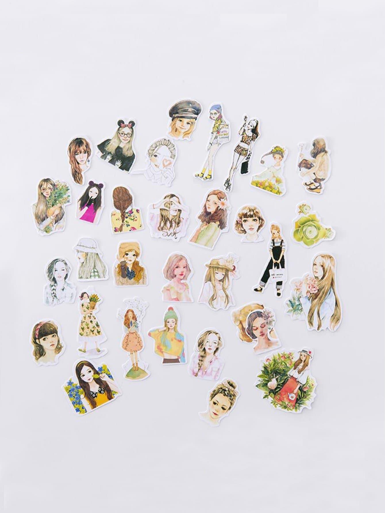 Cartoon Girls Mini Sticker Set 31pcs
