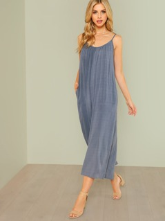 Wide Leg Scoop Neck Flowy Jumpsuit