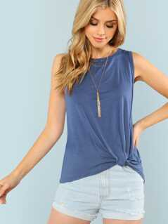 Sleeveless Tank Top with Front Knot