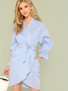 Stripe Puff Sleeve Shirt Dress with Tie Waist