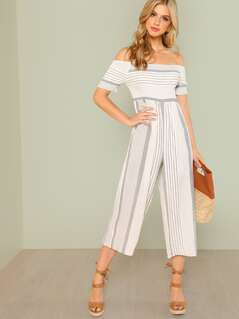 Off Shoulder Shirred Panel Wide Leg Jumpsuit