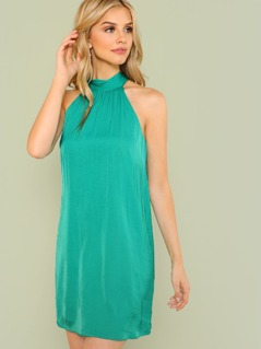 Mock Neck Tie Back Dress