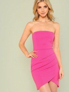 Strapless Overlap Ruched Dress