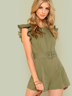 Belted Waist Romper with Flutter Sleeves