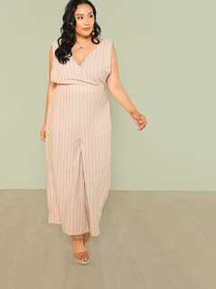 Plus Surplice Stripe Wide Leg Overall Jumpsuit with Pockets