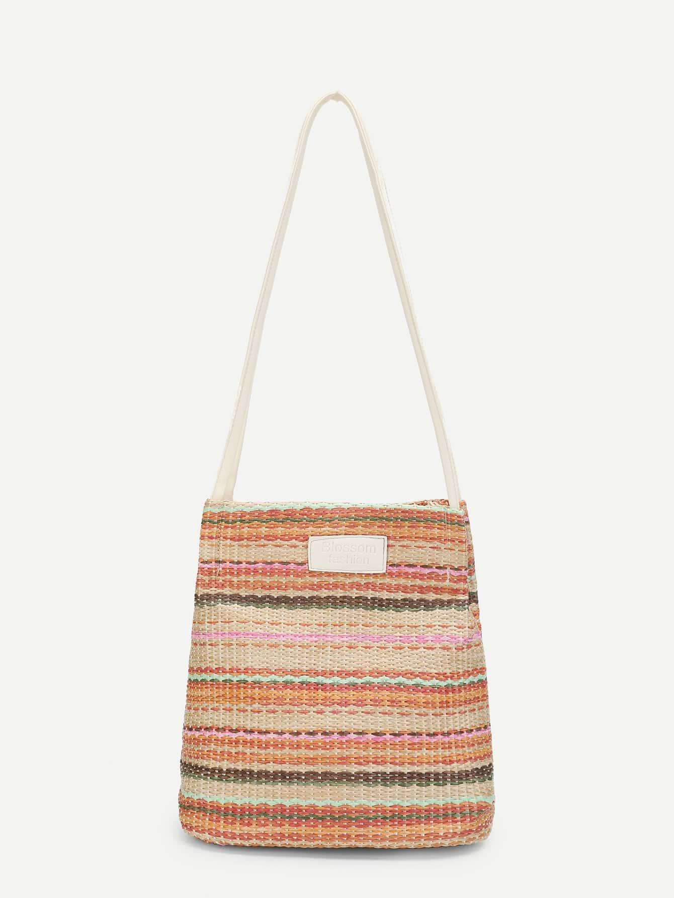 Multicolor Straw Tote Bag