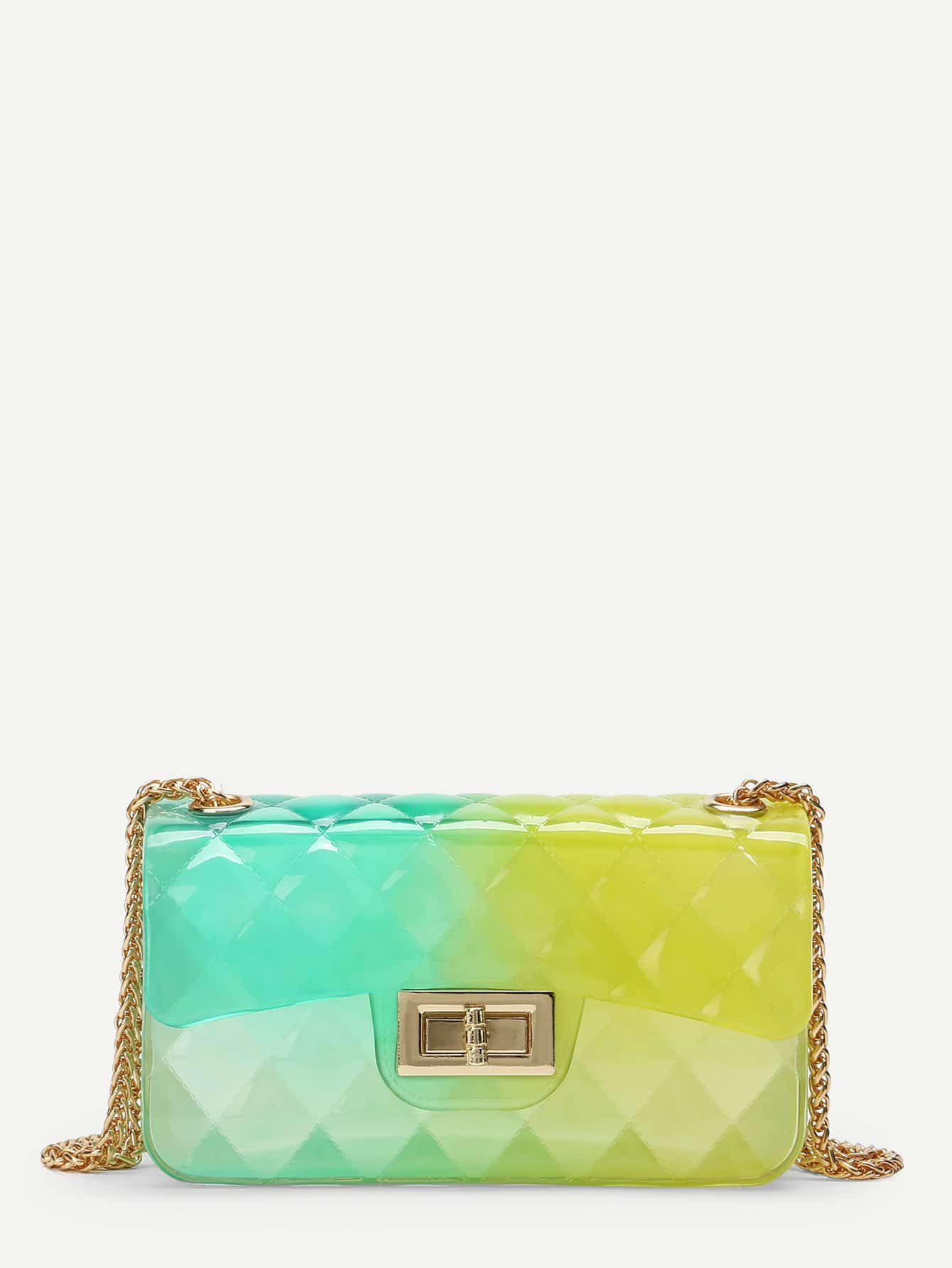 Clear Multicolor Chain Bag buckle front clear chain bag