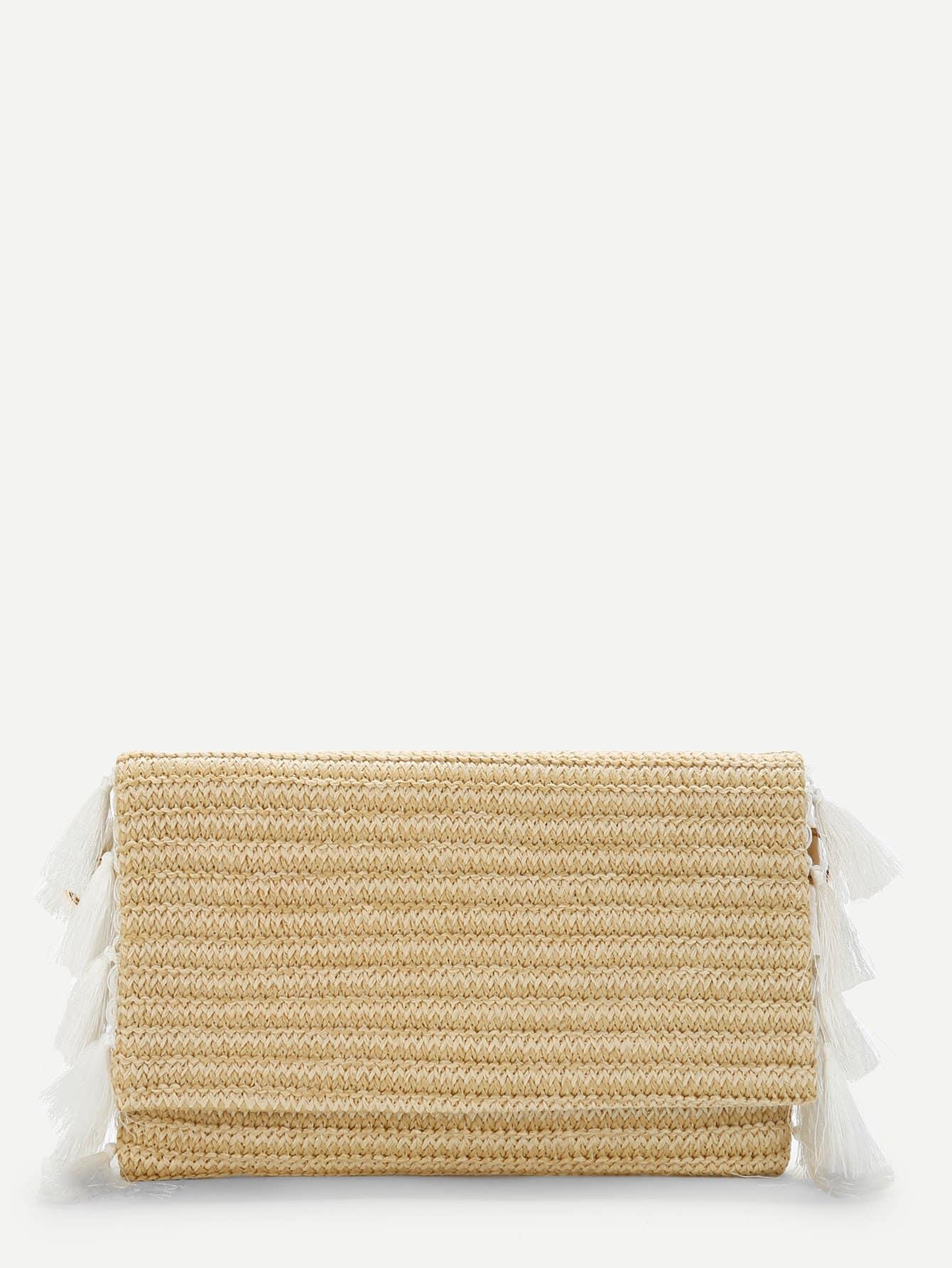 Tassel Detail Flap Straw Crossbody Bag beige tassel detail straw shoulder bags