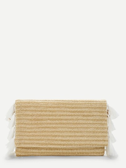 Tassel Detail Flap Straw Crossbody Bag