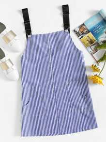 Dual Pocket Striped Pinafore Dress