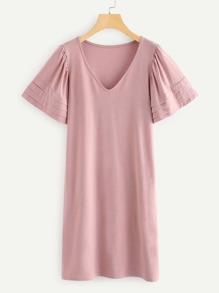 V Neckline Tiered Cuff Dress