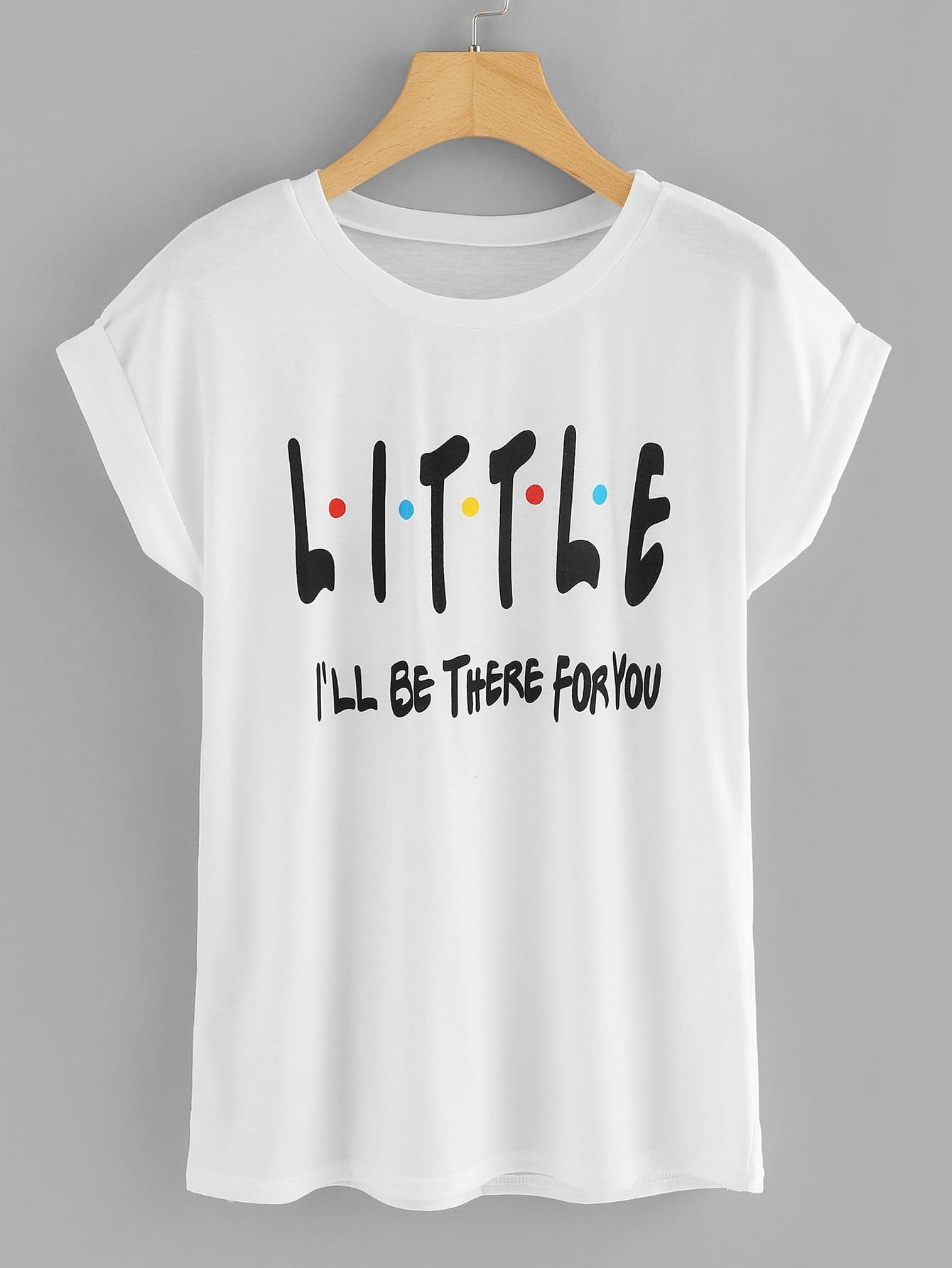 Slogan Print Cuffed Tee graphic print cuffed tee