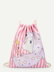 Unicorn Print Canvas Drawstring Backpack