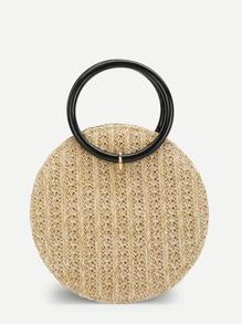 Round Crossbody Straw Bag