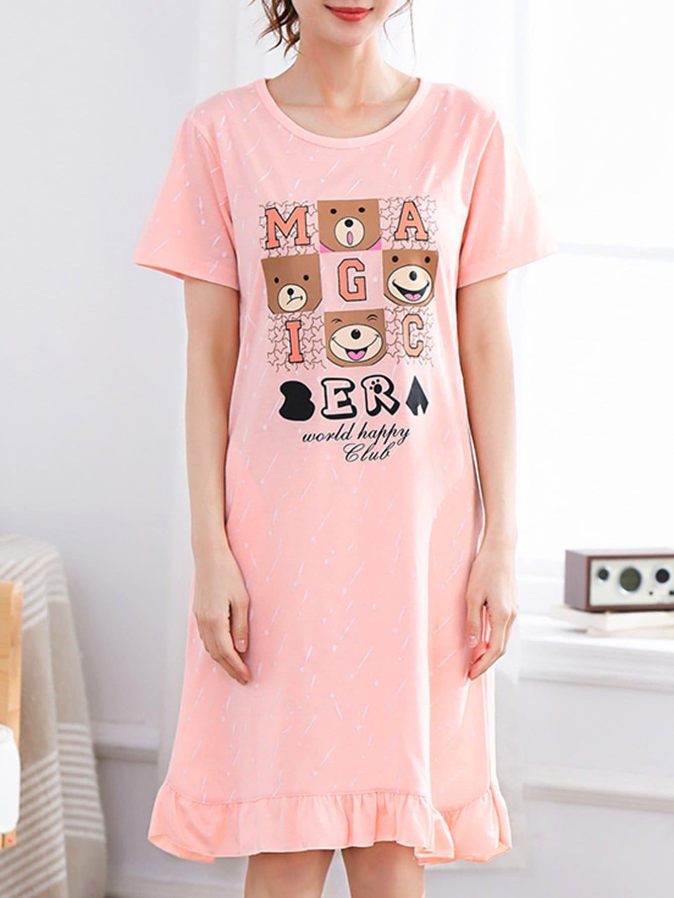 Bear Print Ruffle Hem Night Dress dog print ruffle hem night dress