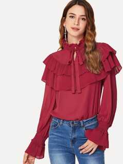 Pleated Ruffle Tiered Tied Neck Solid Blouse