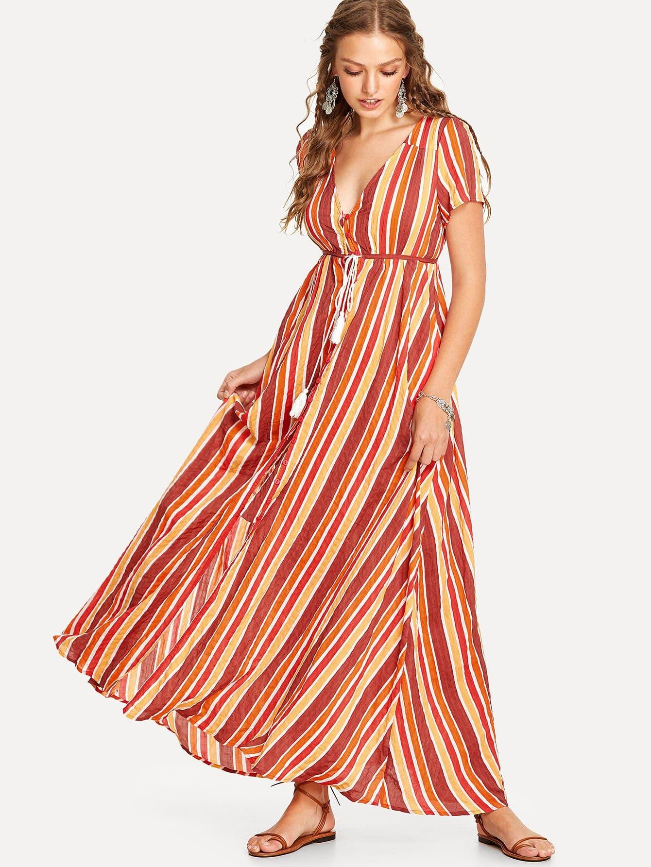 Tassel Tie Shirred Waist Striped Dress button up tassel tie shirred waist ornate print dress