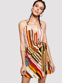 Knot Front Striped Cami Dress