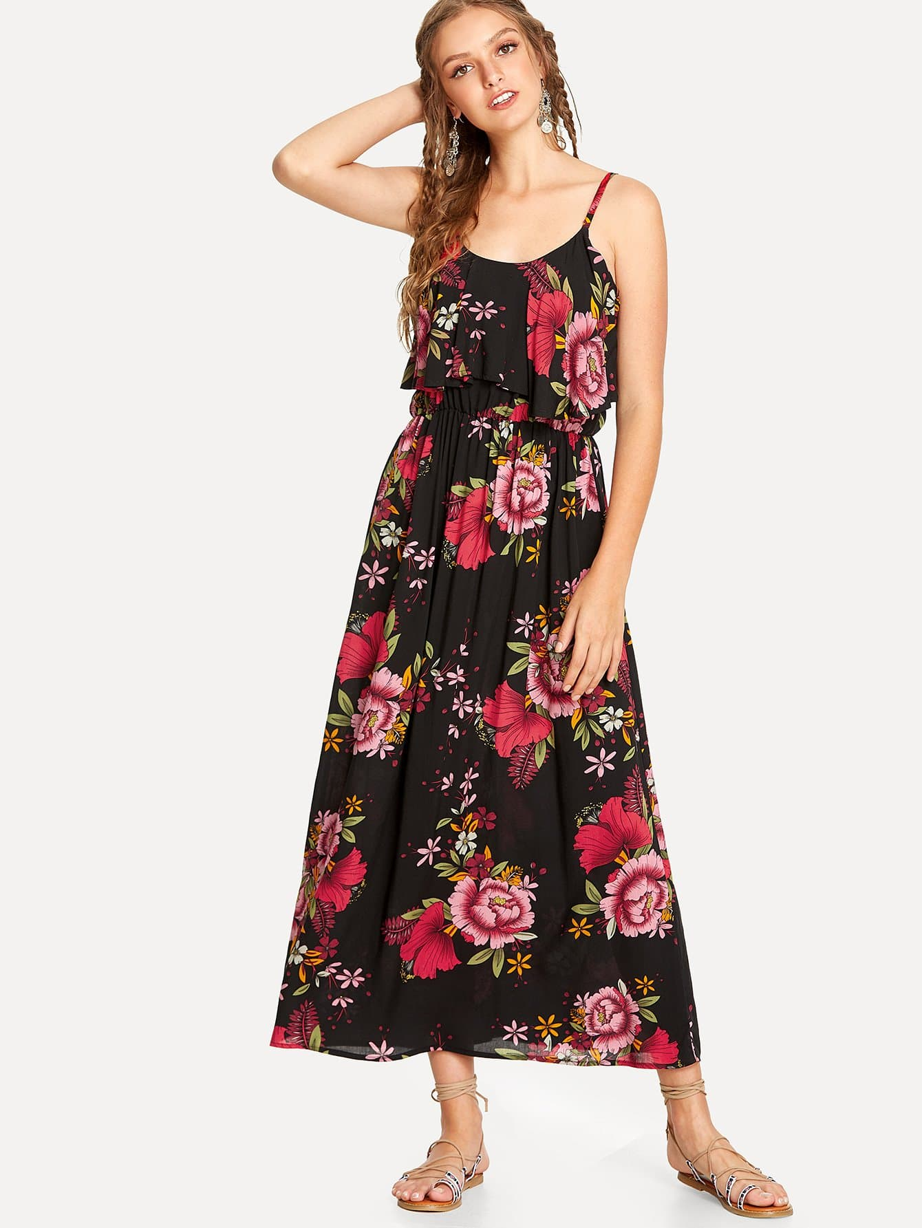 Flower Print Double Layer Cami Dress leaves print backless tiered layer cami dress