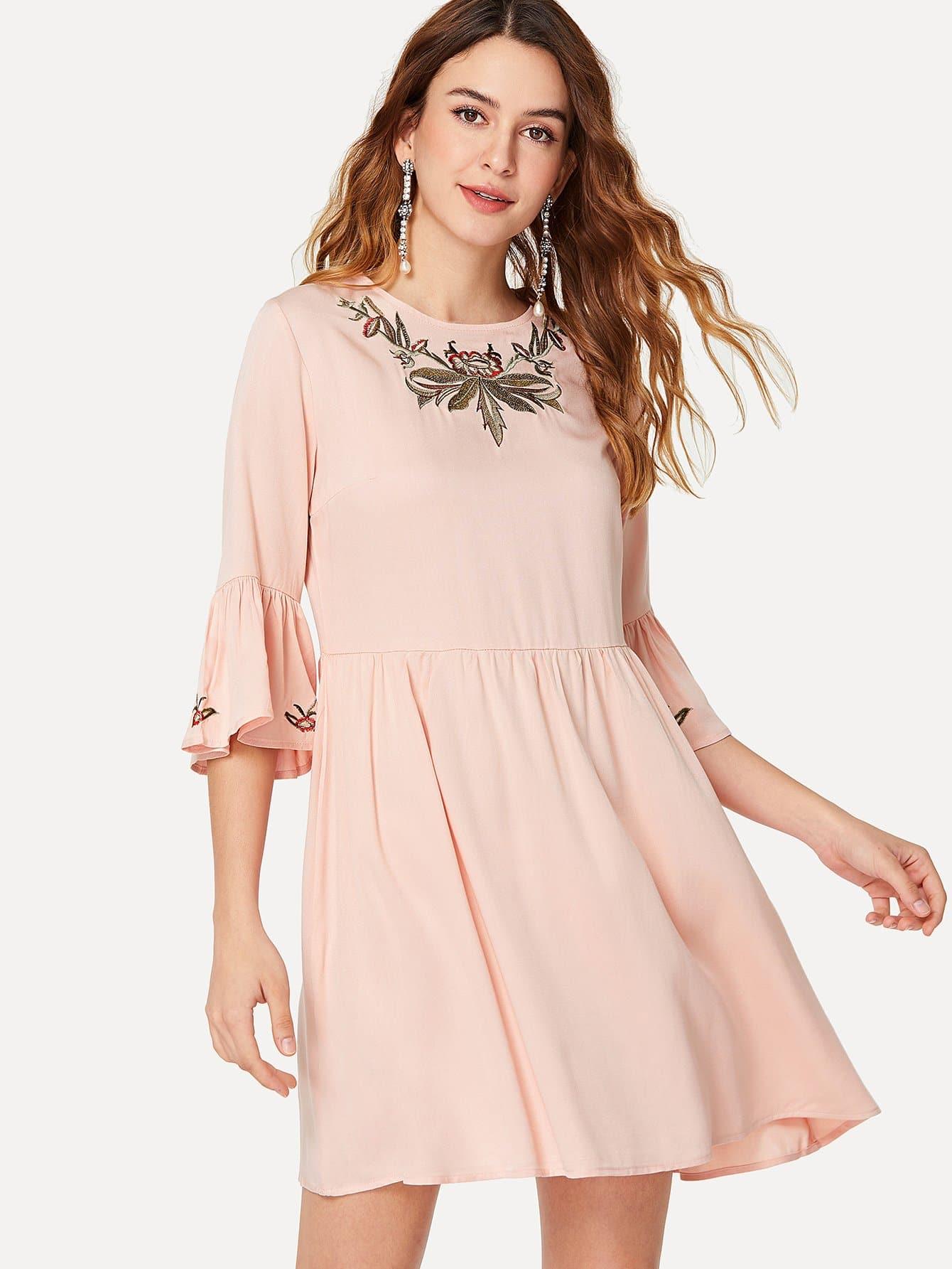 Ruffle Sleeve Flower Embroidery Smock Dress corduroy babydoll smock dress