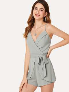 Self Belted Fold Over Wrap Cami Romper