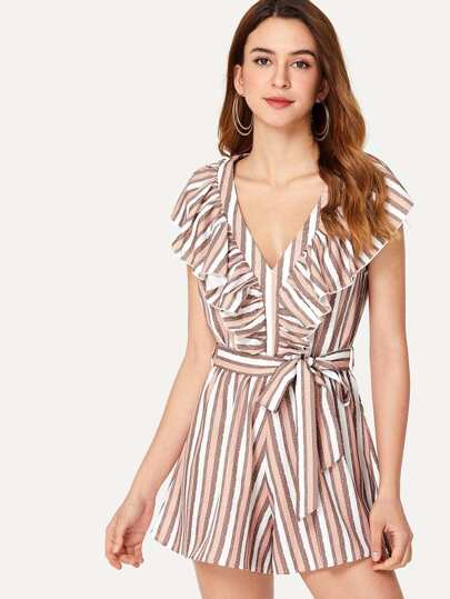 Flounce Embellished Striped Romper