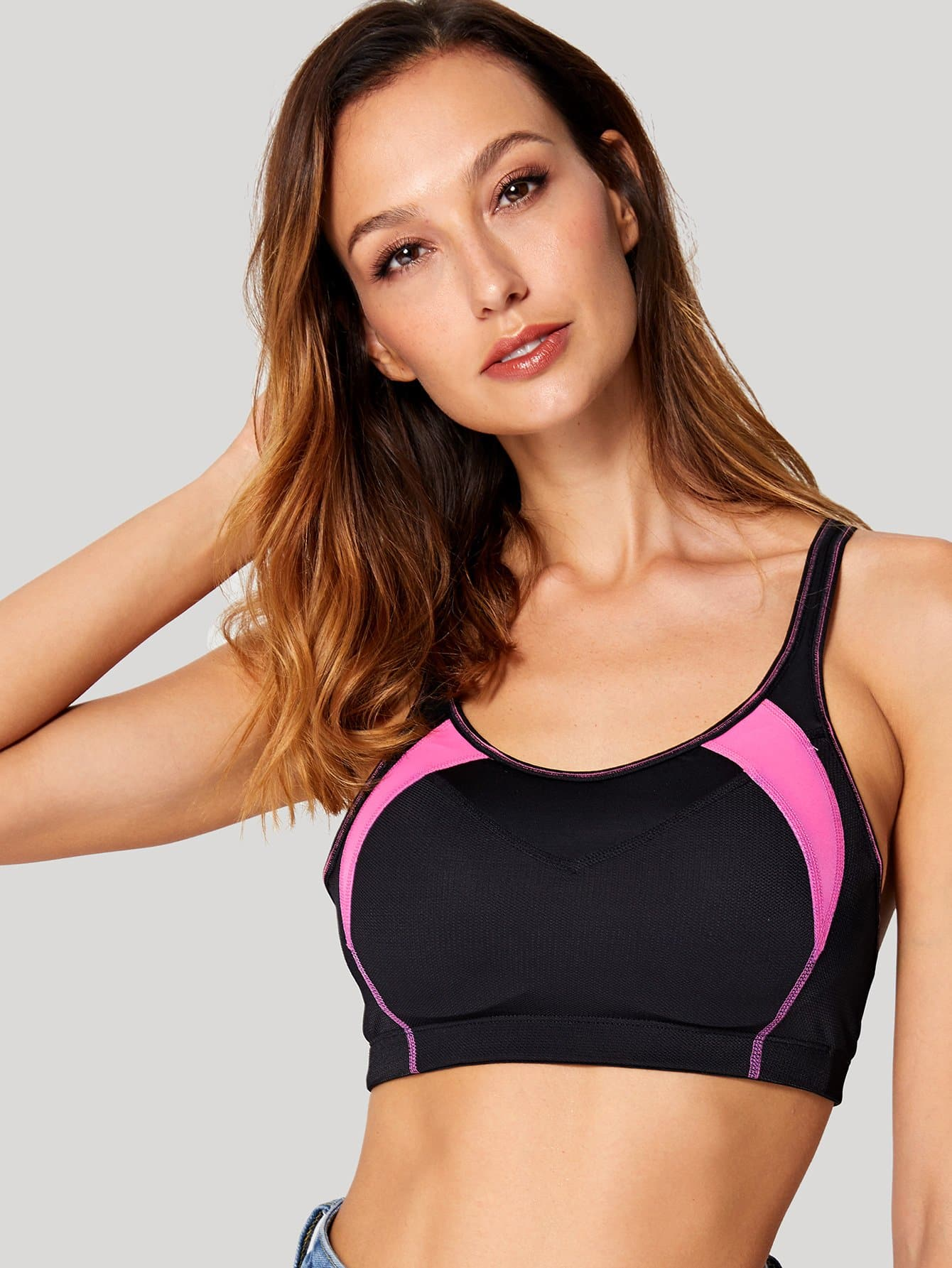 Cross Back Sports Bra neon pink cross back design sports bra