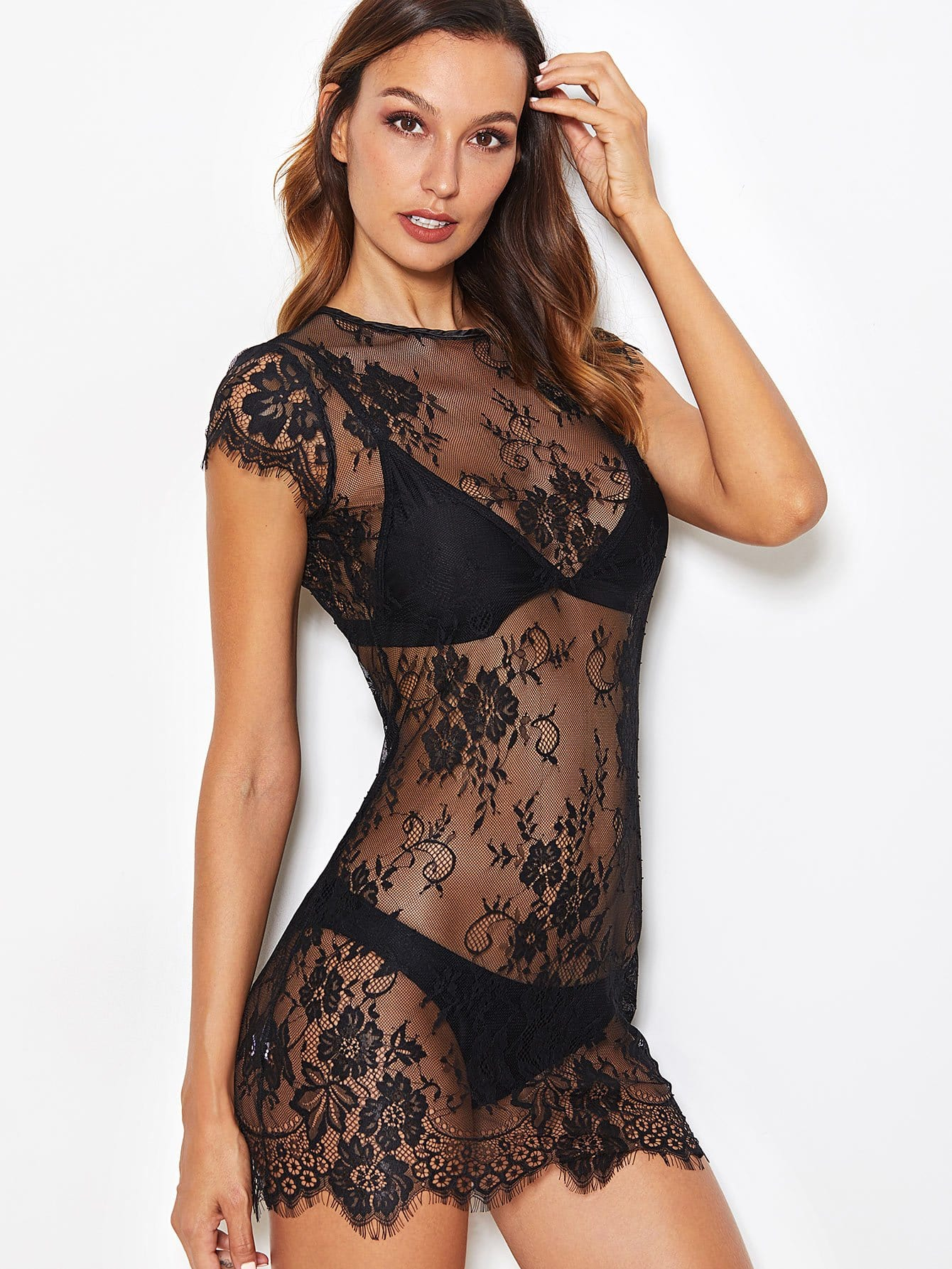 Floral Lace Dress With Thong