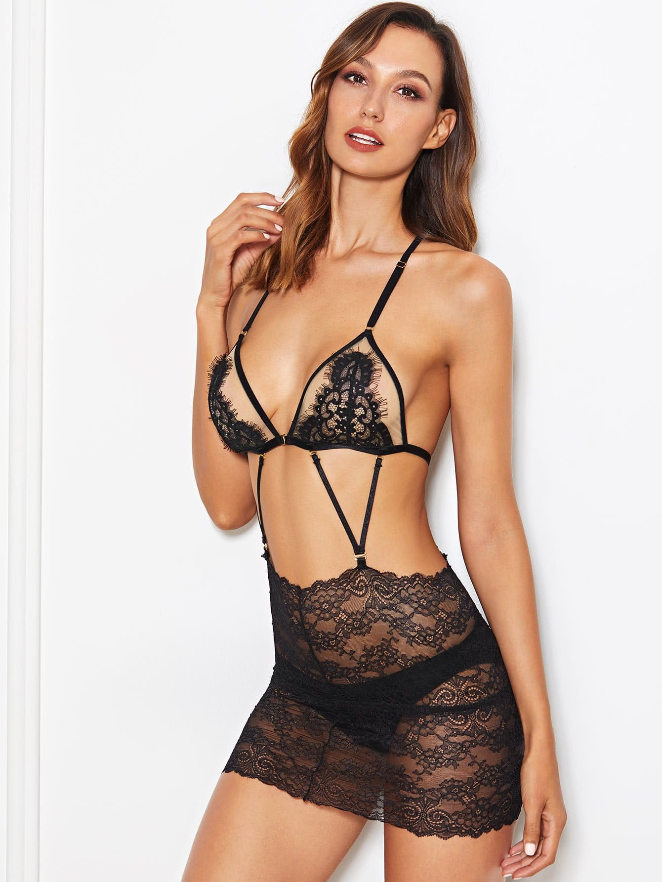 Harness Lace Bra And Bodycon Skirt And Thong