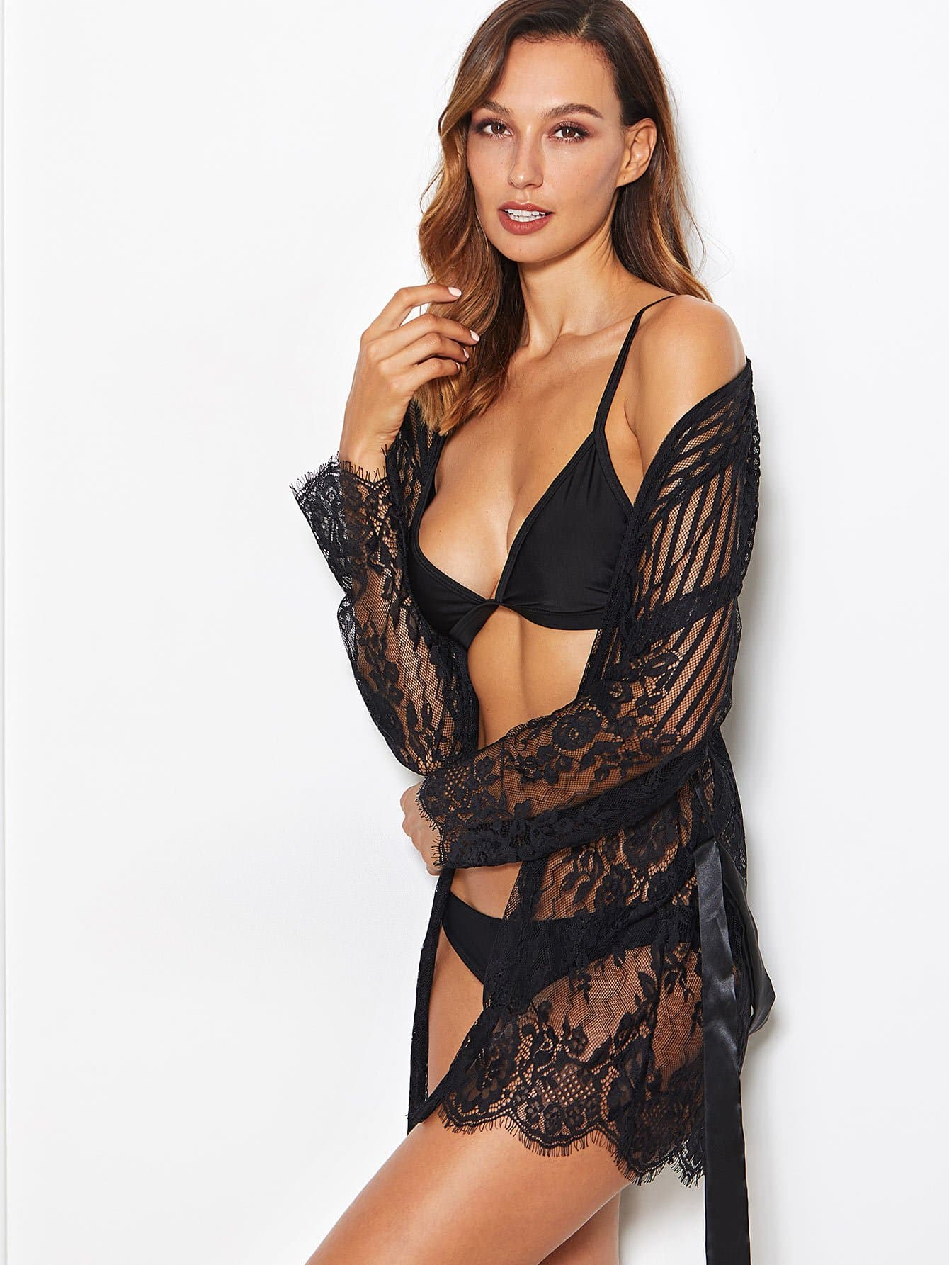 Self Tie Lace Robe With Thong self tie satin robe with panty