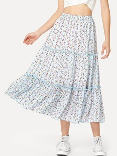 Calico Print Frilled Tiered Skirt