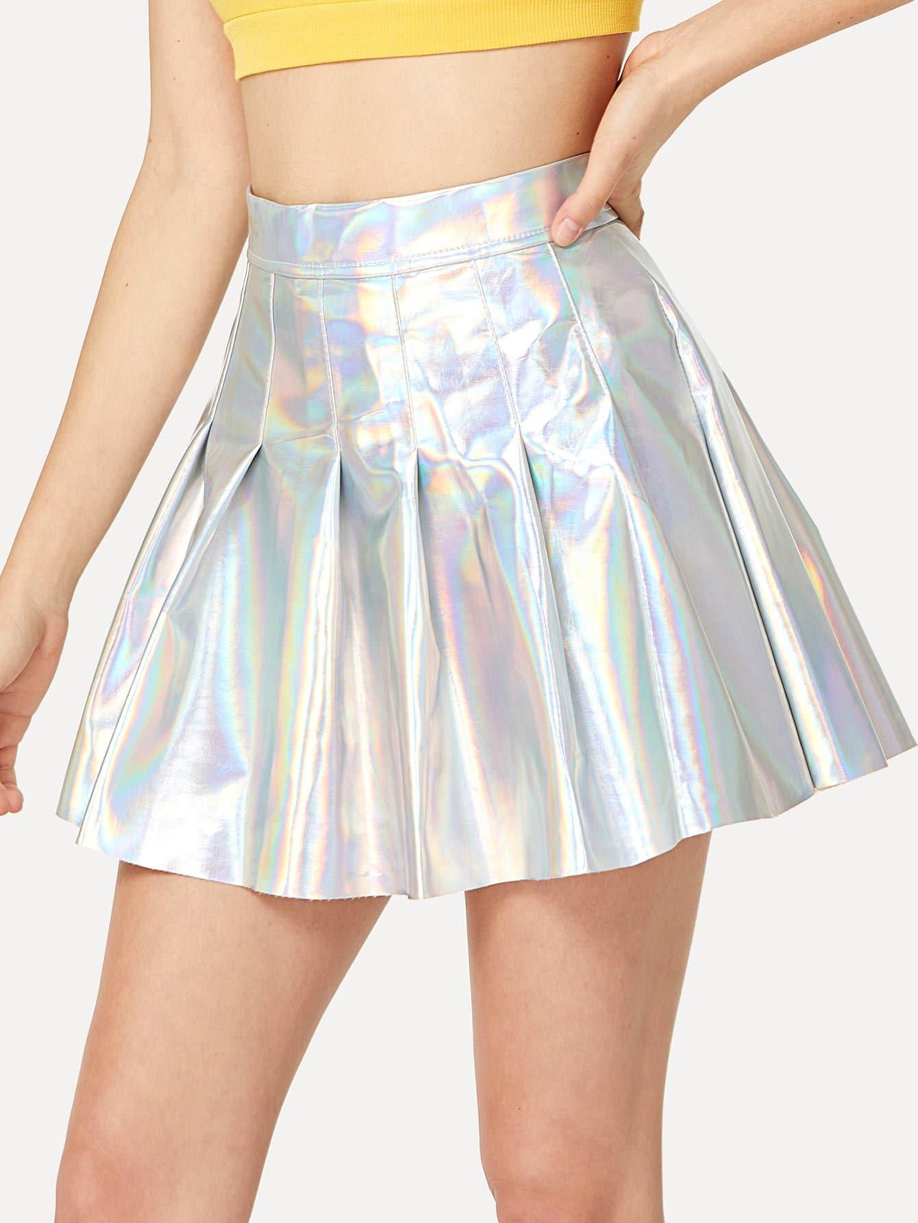 Metallic Box Pleated Skirt box pleated suede skirt