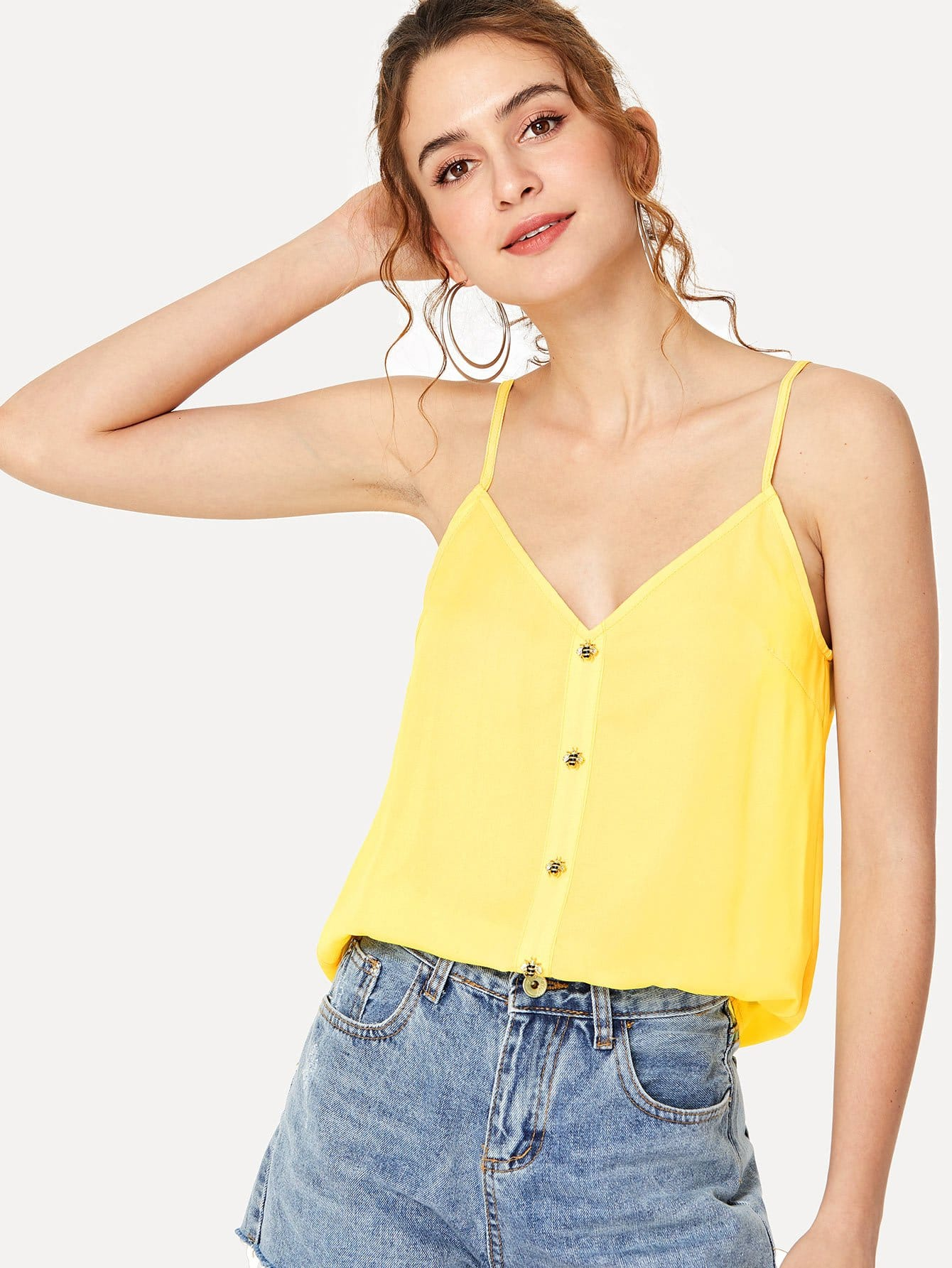 Button Detail Cami Crop Top button through crop top