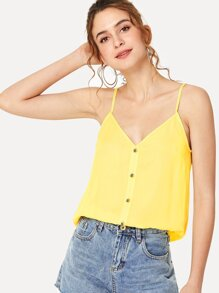 Button Detail Cami Crop Top