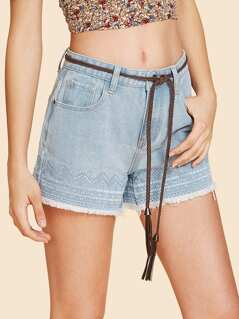 Geo Embroidered Frayed Denim Shorts without Belt