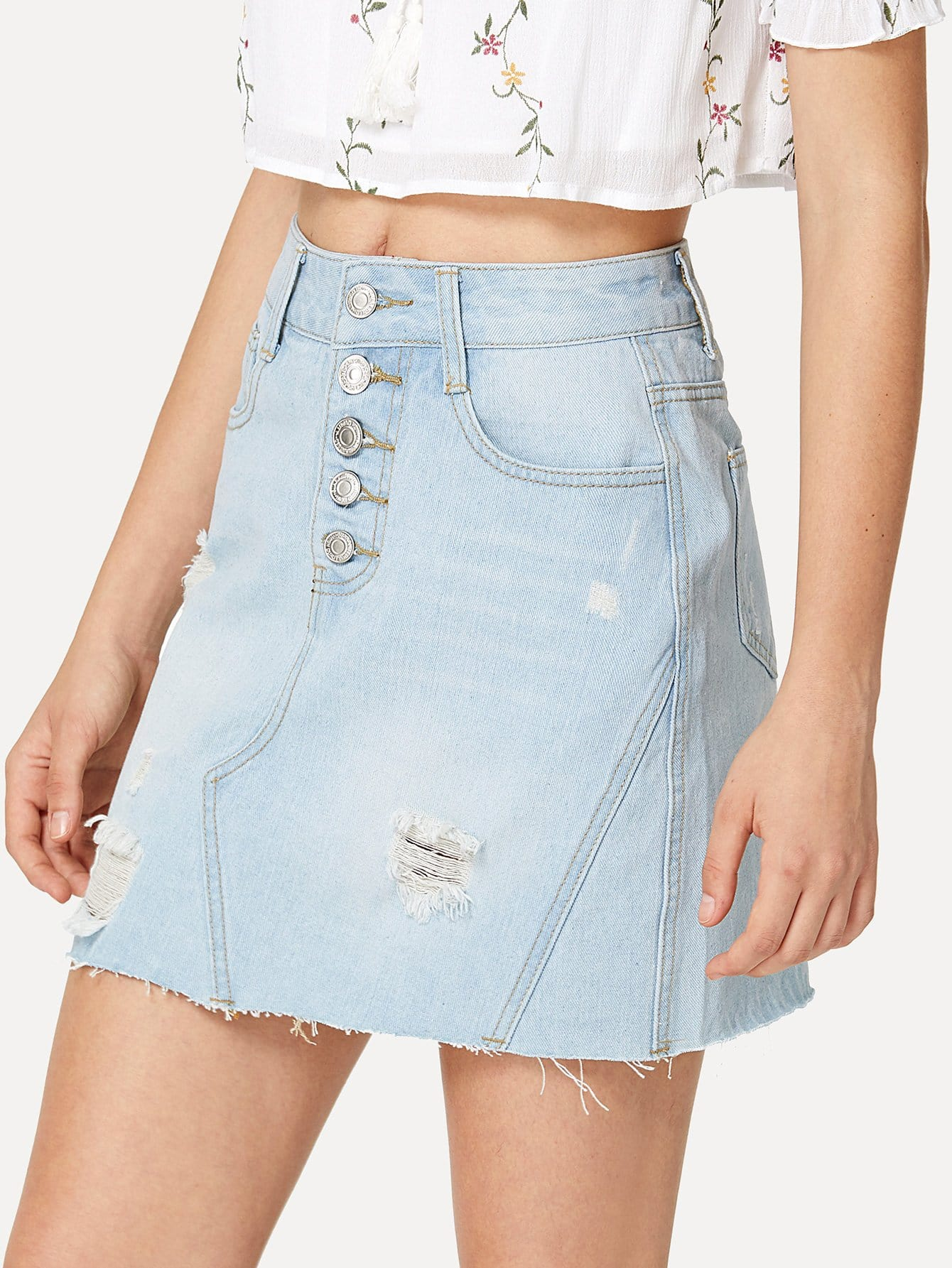 Light Wash Button Fly Detroyed Denim Skirt unedged button fly asymmetrical skirt