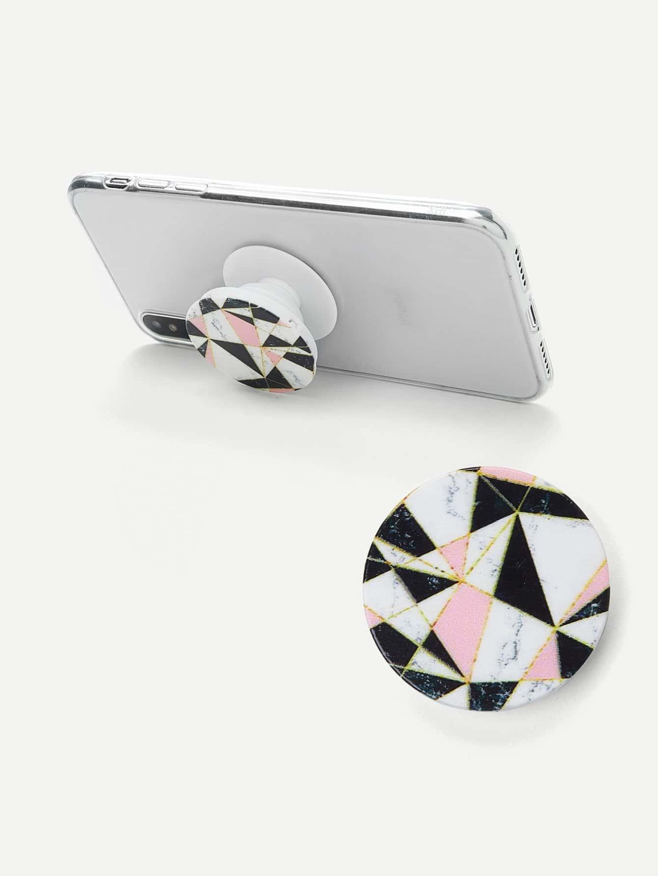 Color Block Round Portable Phone Holder convenient folding portable multifunctional phone holder red