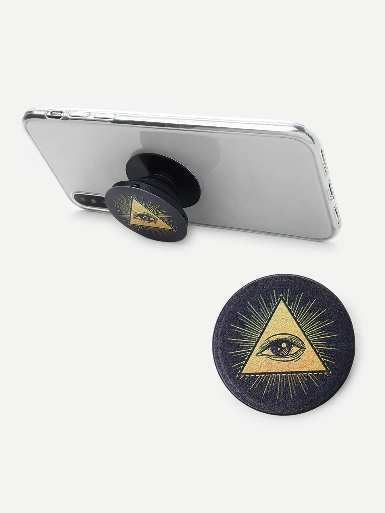 Triangle & Eye Pattern Portable Phone Holder convenient folding portable multifunctional phone holder red