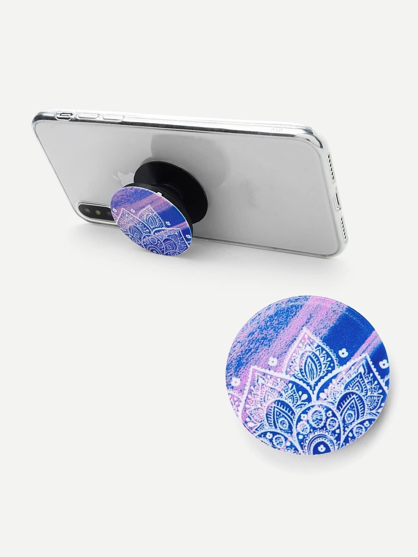 Mandala Flower Round Durable Phone Holder clip on earrings with mandala flower pattern round pendant