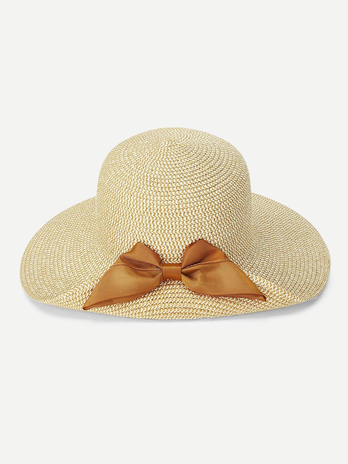 Bow Decorated Straw Hat bird decorated straw hat