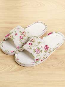 Flower Print Flat Slippers