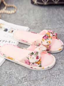 Bow Decorated Slide Slippers
