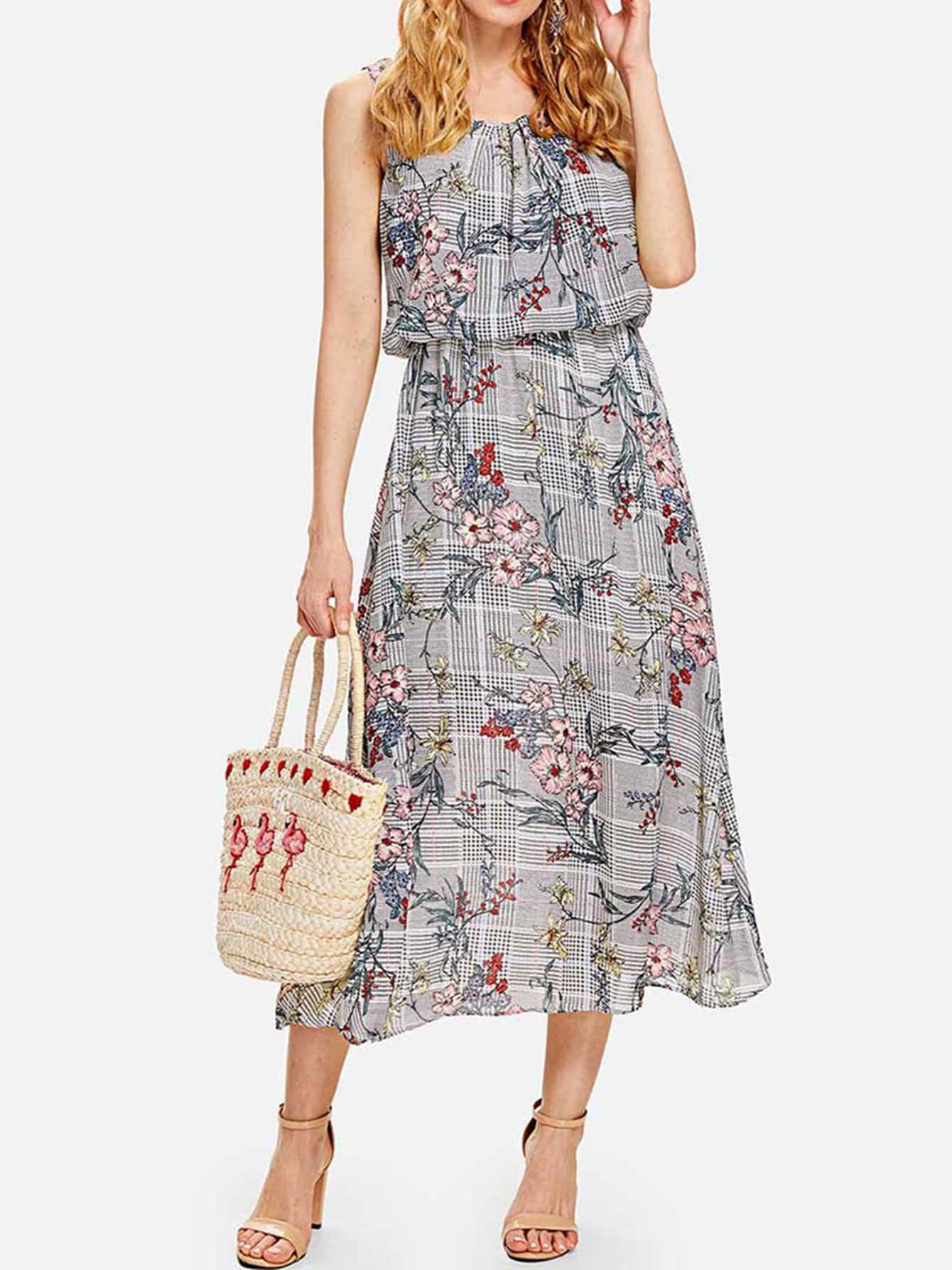 Floral Print Plaid Dress zip back fit and flared plaid dress