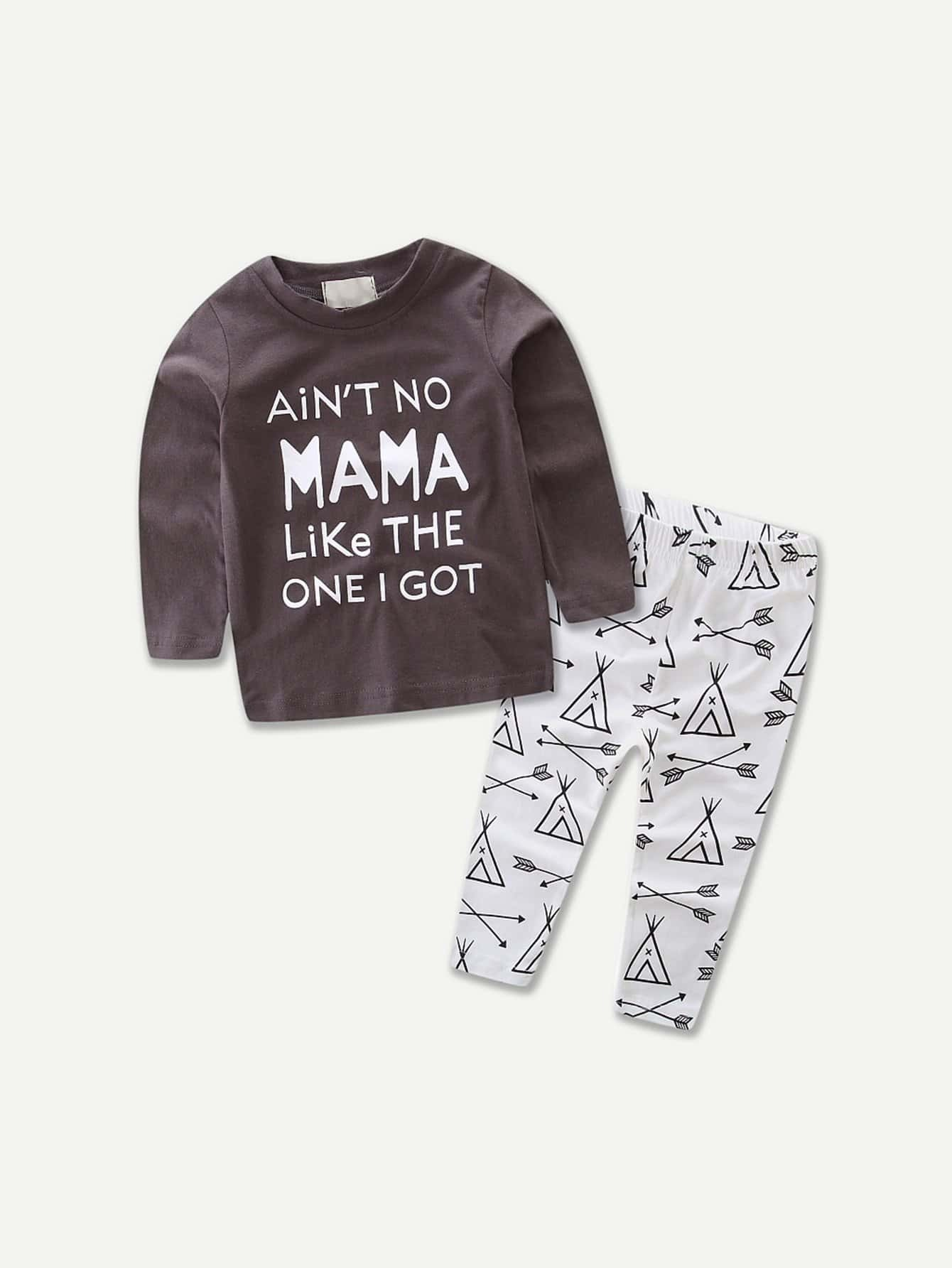 Letter Print Pullover With Pants kids cows print pullover with pants
