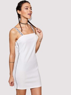 Letter Strap Tipping Detail Ribbed Dress