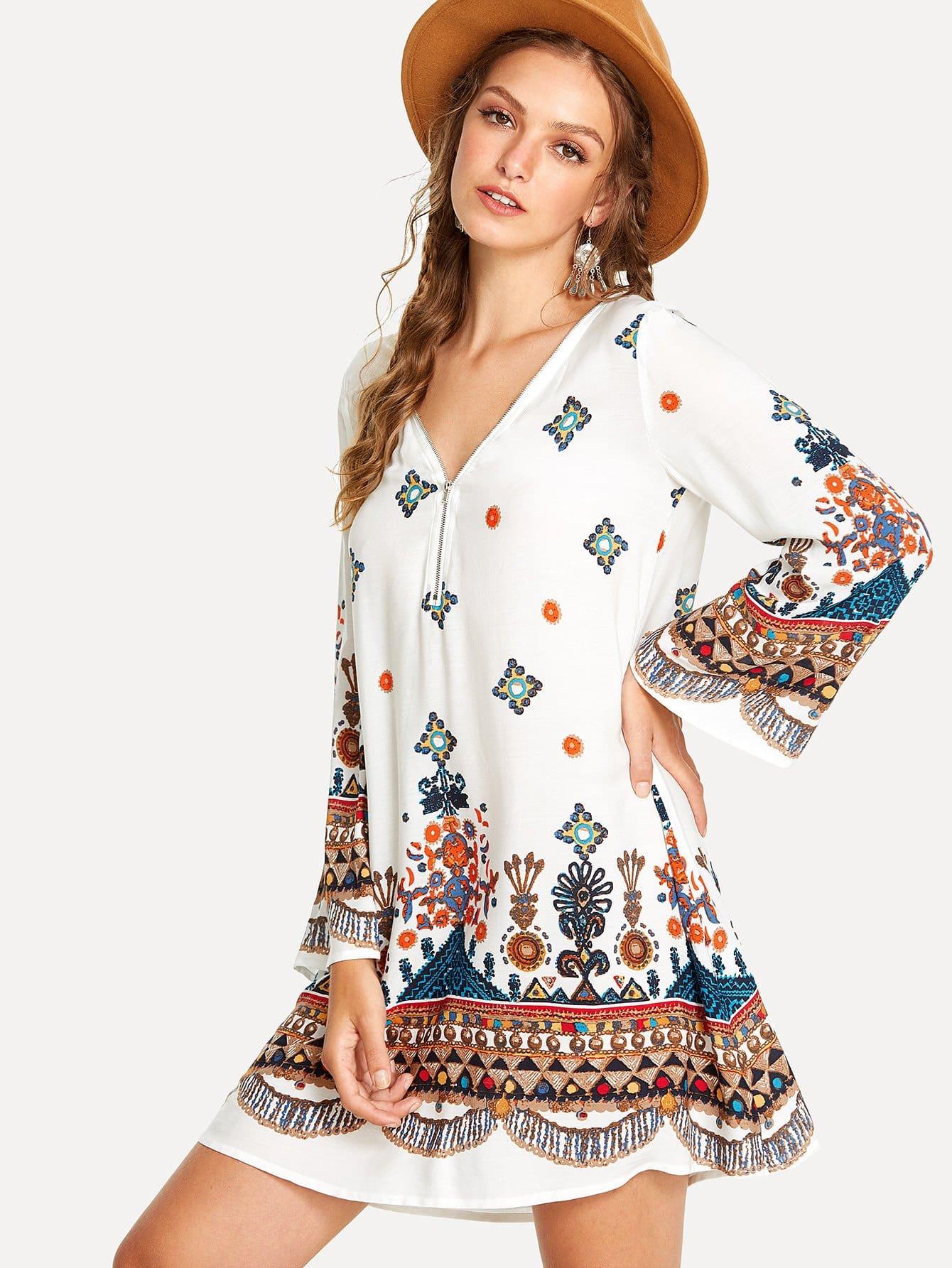 Zip V-Neckline Tribal Print Dress tribal print dress