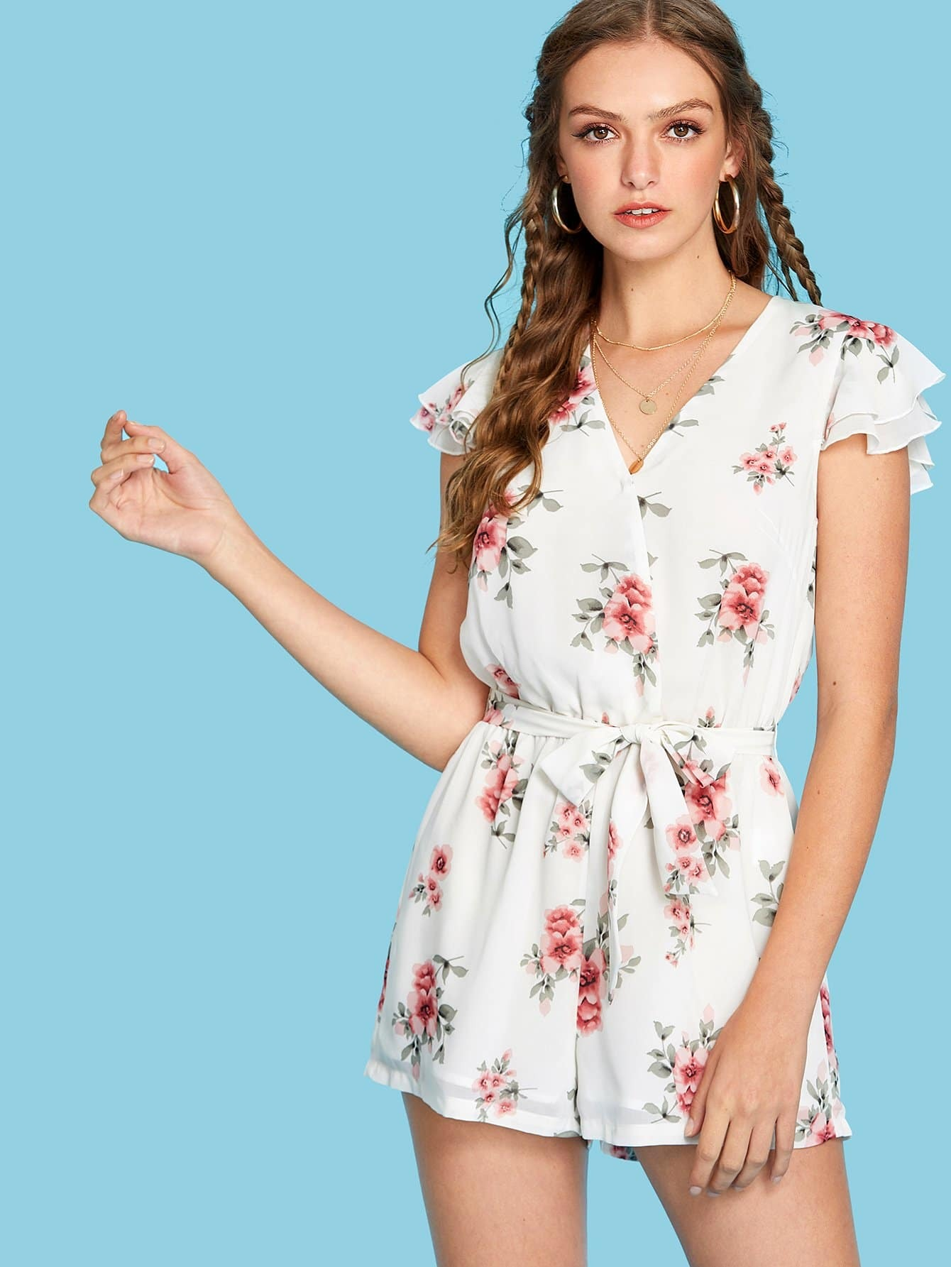 Layered Cap Sleeve Floral Wrap Romper pearl detail layered frill sleeve top