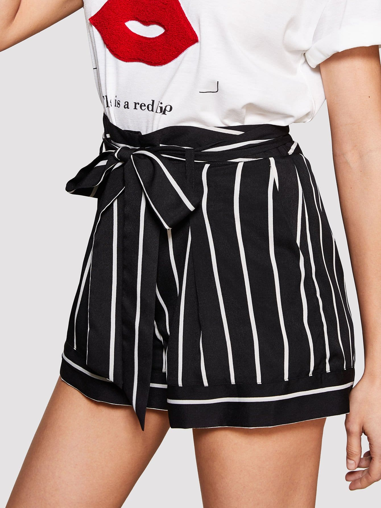 Knot Front Striped Shorts knot front fit