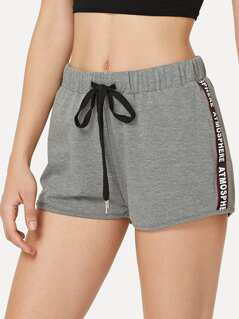Lettering Tape Side Heathered Sweat Shorts